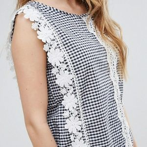 NWT Asos QED London Gingham Top